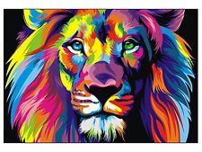 Colorful Lion Head Home Decor Canvas Print, choose your size.