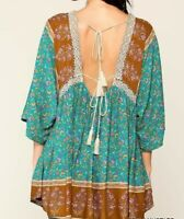 New Gigio By Umgee Tunic Top M Teal Crochet Tassel Tie Floral Boho Peasant