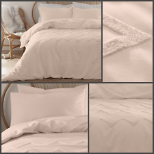 Appletree Bedding Chevron Tuft 100% Cotton Soft Luxurious Blush Duvet Cover Set