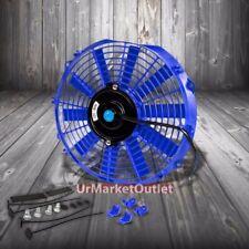 """Universal 12"""" Blue Slim Reversible Electric Radiator Motor Cooling Fan+Mounting"""