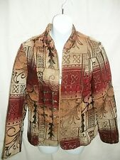 Womens DRESS BARN Tribal Print Jacket Gold Burgundy Brown Size M Medium
