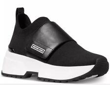 New Michael Kors Cosmo knit slip on sneakers black platform wedge MK lettering