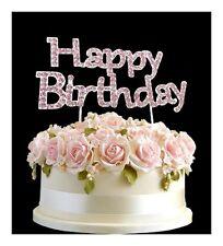 Strass COMPLEANNO CAKE TOPPER numero Pick rosa Happy Birthday
