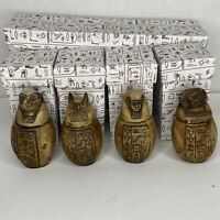 """Egyptian Canopic Jars Set Large Resin Brown 4.5"""" High Four Sons Of Horus"""