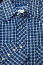 Wrangler Men's Blue & White Check Western Snap Cotton Casual Shirt S Small