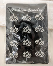 "12PCS 1"" Tiny Rhinestone King Queen Crown Brooch Pin Lapel Favor Bouquet Wedding"