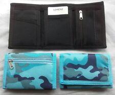 Men's Boy's Lorenz valcro camouflage wallet with zip in nylon FOUR COLOURS