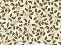 Christmas Fabric - Too Many Men Country Holly Leaf Toss Beige - Red Rooster YARD