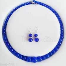 Fashion Natural 6-14mm Sapphire Blue Round Gemstone Beads Necklace Earring Set