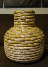 Natural Water Hyacinth Basket Vase with Yellow