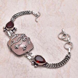Rose Quartz Garnet Ethnic Gift Jewelry Handmade Bracelet 25 Gms AB 41570