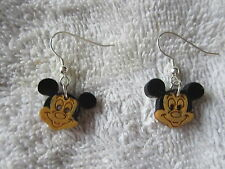 PAIR OF HOMEMADE MICKEY MOUSE EAR RINGS WITH SILVER PLATED FISH HOOK FINDINGS