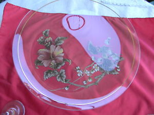 """Pink flowers Floral Glass Serving Platter Tray 13 1/4"""""""