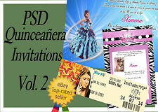 PSD Photoshop Templates  for Quinceaneras  Invitations Vol. 2 and VIP Tickets