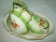 ANTIQUE, C.1870 ENGLAND LARGE PEAR SHAPED CHEESE DISH WITH COVER