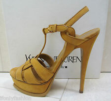 YSL Yves Saint Laurent TRIBUTE 105 Platform Suede Kid SAFRAN Sandals Shoes 39