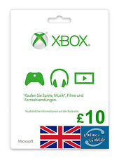 Xbox Live Card - 10 GBP Microsoft £10 Guthaben - ms Xbox 360 / Xbox One 10 Pound