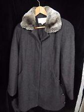 Women's Andrea Dark Gray Button Down Coat Size Med; 100% Wool; Faux Fur Collar