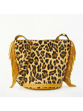 John Lewis AND/OR Isabella Leather Bucket Bag, Ochre/Leopard, RRP £85