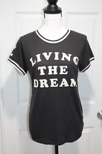 Junk Food Shirt Living the Dream Mickey Mouse Retro Tee Top Ringer Womens Size M