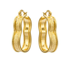 Vintage Yellow gold filled Scrub womens 8 shape hoop earrings wholesale  Lot
