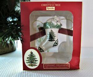 """Spode Christmas Tree Porcelain Kitten in Stocking Ornament 3"""" NEW in Box"""