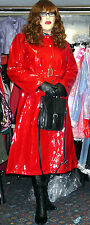 heavyweight shiny red wet look thick pvc vinyl womans raincoat  TV  48 che
