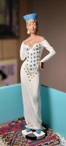 "African American Woman White Dress BLUE HAT Figurine 13"" ELEGANT"