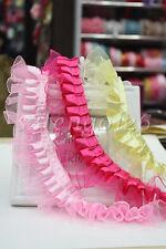 1M/5M Lace Edge Trim Pleated Gathered Organza Satin Ribbon Wedding Sewing Craft