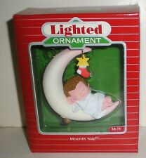 1988 Hallmark Lighted Christmas Ornament Moonlit Nap Babys First Christmas New