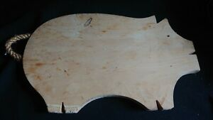 Vintage Pig Shaped Wooden Bread Board -  Wood Carving Breadboard