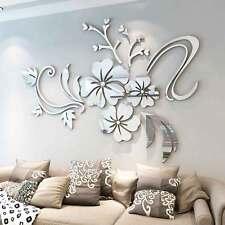 3D Mirror Flower Removable Wall Sticker Art Acrylic Mural Decal Wall Home Decor
