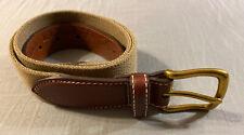 LL BEAN Comfort Waist Belt MensSize 30 Brass Buckle Leather &Khaki Nylon USA