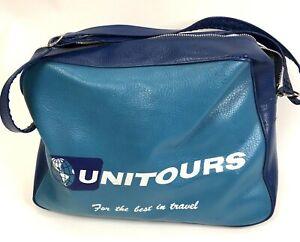 Vtg 70's Naugahyde Travel Bag Club Universe Unitours Travel Bag Blue Footed