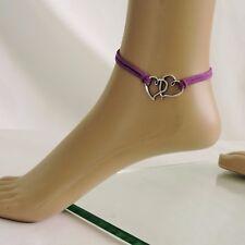 Fußkette Fußkettchen Lila Silberfarben Herz Leder-Imitat 21 cm + 6 cm Verl.