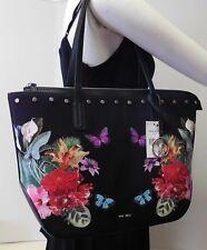 """Nine West Embroidered Floral Butterfly Black Shoulder Bag Handbag Purse """"NWT"""""""