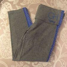 NWT Gilly Hicks Grey Blue Side Stripe Cropped Foldover Yoga Legging Size XS