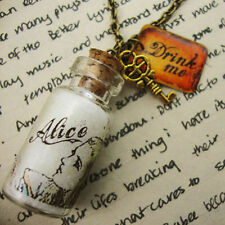 Alice In Wonderland Botella Con Bebida me Tag y clave Collar Kitsch