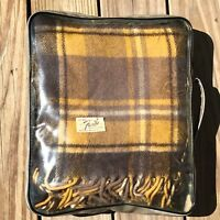 Faribo Wool Fluff Loomed Yellow Brown Plaid Camp Throw Lap Blanket 50 x 48