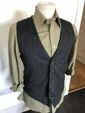 VINTAGE 80's DARK GREY DRESS WAISTCOAT VEST SMALL