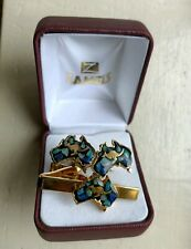 VINTAGE 70s Men's GOLD Plated Aussie Opal Cufflinks+ tie clip CUFF LINKS RARE