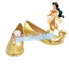 Aladdin (film) Princess Jasmine Cosplay Shoes Boots Gold shoes