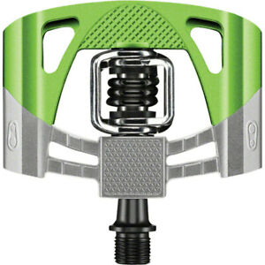 Crank Brothers Mallet 2 Pedals Raw/Green with Black Spring
