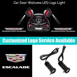 2Pcs 3D Cadillac Escalade Logo Car Door LED Light Projector for Escalade EXT ESV