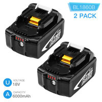 2x18V 6.0Ah BL1860B Replace for Makita Lxt Lithium Battery BL1830B BL1850 BL1860