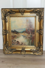 Ölgemälde auf Leinwand Landschaft Fluss Himmel Bäume Öl Bild antik signiert