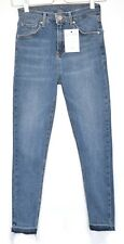 Topshop SUPER SKINNY JAMIE High Waisted Blue Raw Hem Jeans Size 10 W28 L30
