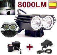 Linterna para bicicleta foco luz recargable DE 8000LM 2 x CREE XM-L U2 LED