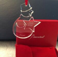Baccarat Crystal 2006 Christmas Tree Ornament SNOWMAN Brand New In Red Gift Box