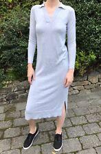 ASOS Polo Collar Cotton Shirt Midi Dress Knit V-Neck Long Sleeve Gray 4 8 S M